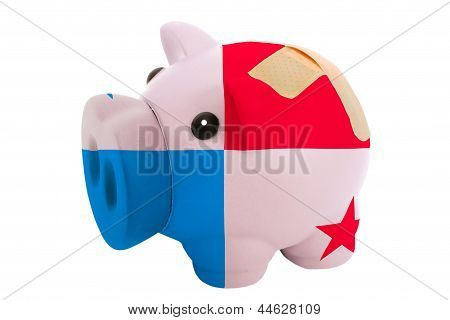 Closed Piggy Rich Bank With Bandage In Colors National Flag Of Panama