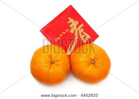 Mandarin Orange And Red Packet