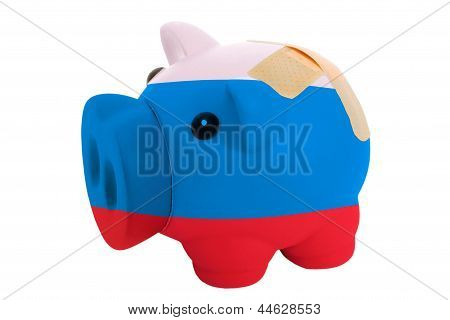 Closed Piggy Rich Bank With Bandage In Colors National Flag Of Russia