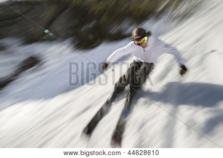 Motion Blurred Image Of An Expert Skier.