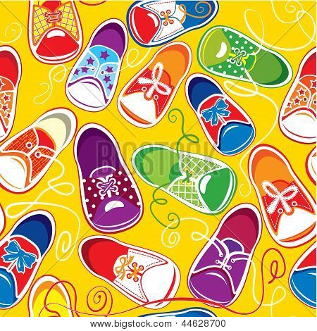 seamless pattern - colored children gumshoes on yellow background poster