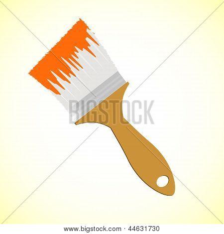 Orange Paint Brush On Yellow Smooth Background