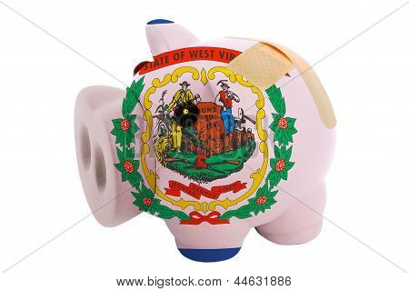 Closed Piggy Rich Bank With Bandage In Colors Flag Of American State Of West Virginia