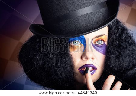 Eccentric Mad Fashion Hatter In Colourful Makeup