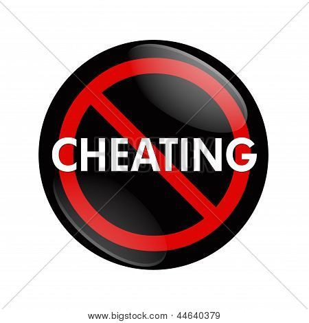 A black and red button with word Cheating and no symbol isolated on white Stop Cheating poster