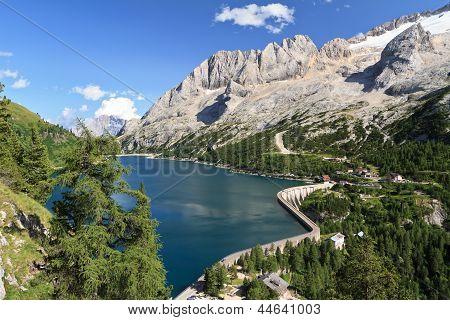 Fedaia Pass With Lake