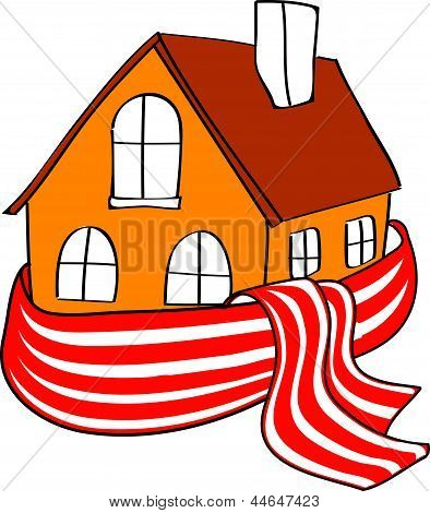 House wrapped in a stripped scarf on a white background