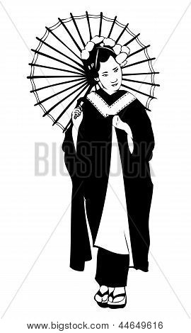 Isolated black and white vector on white background of a Japanese Geisha with flowers in her hair holding her kimono and an umbrella poster