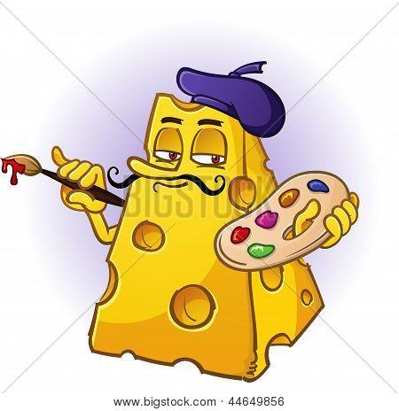 Cheese Artist Cartoon Character