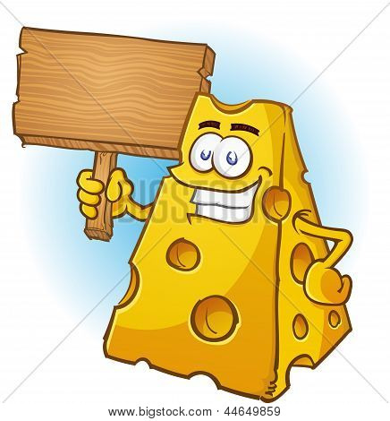 Cheese Character Holding Sign