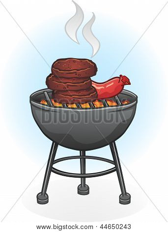 Barbecue Grill Cartoon Illustration