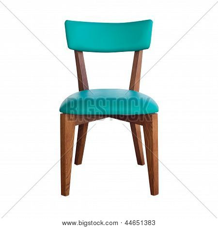 Wood Chair Green Leather Isolated With Path