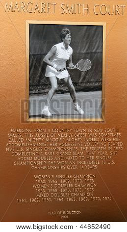 Margaret Smith Court plaque at US Open Court of Champions