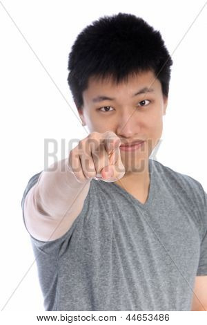 Asian Man Pointing An Accusatory Finger