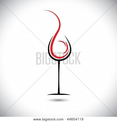 Abstract Vector Illustration Of Wine Pouring(splash) Into Glass