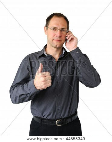 Smiling Man With Mobile Phone Isolated On The White Background