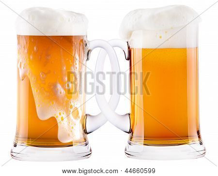 Two Beer Mugs Being Attached To Each Other