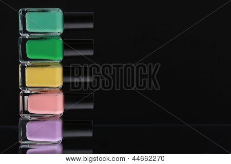 Nail polish bottles pastel colours