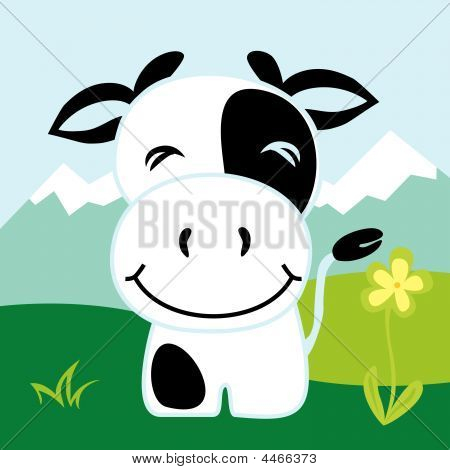 vector illustration of one happy cow smiling poster