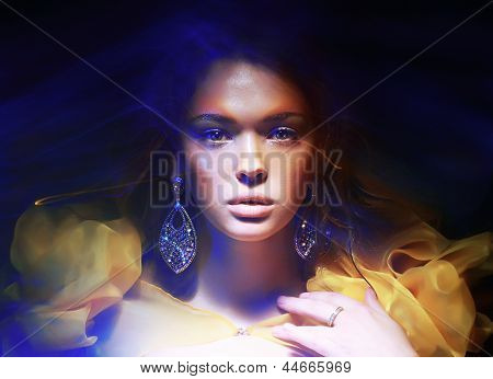 Color. Portrait Of Trendy Woman In Soft Fantastic Lights