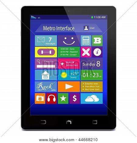 Черный Tablet Pc с метро значки на дисплее
