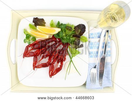Three Boiled Crayfish With Lemon, Lettuce And Champagne