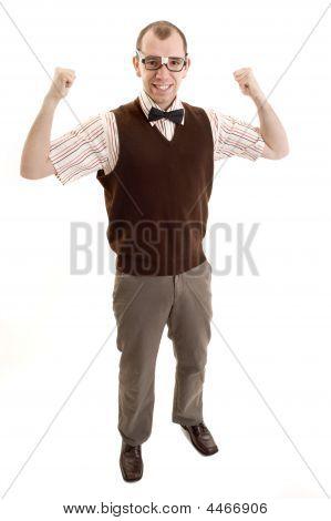 Nerd Flexing His Muscles.