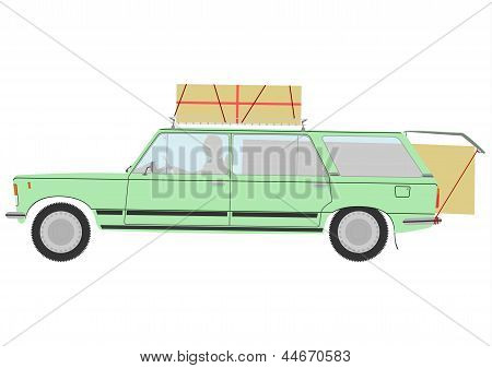 Loaded Retro Station Wagon Car.