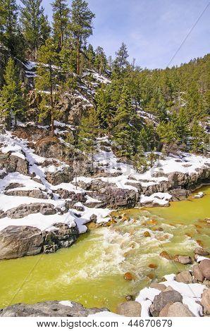 Mountain Stream In Spring Snow