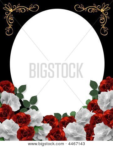 Valentine Or Wedding Border Red Roses
