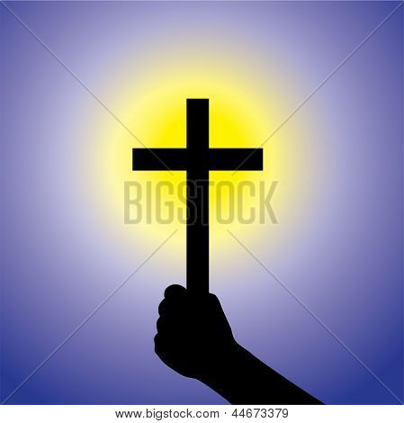 Person Showing Faith In Lord By Holding Holy Cross- Vector Graphic