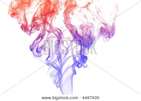 Abstract colored smoke curves on white background poster