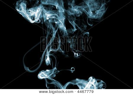 Blue colored smoke curves on black background poster