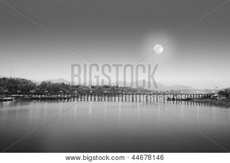 Black And White Landscape Wooden Bridges And River