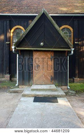 door to Wooden church