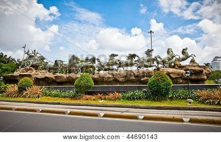 Krishna and Arjuna statues in Mahabharata monument in Jakarta on Java island, Indonesia.