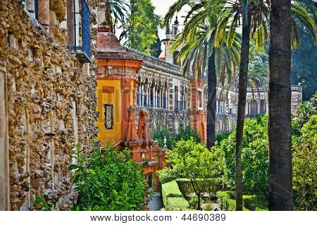 """Real Alcazar  """"Reales Alcazares"""" gardens in Seville, Andalusia, Spain poster"""