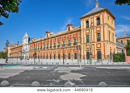 Baroque facade of the Palace of San Telmo in Seville. Its costruction began in 1682 and it housed the University of Navigators.It is the seat of the presidency of the Andalusian Autonomous Government