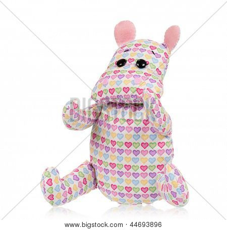 poster of Cute toy hippopotamus - handmade, isolated on white background