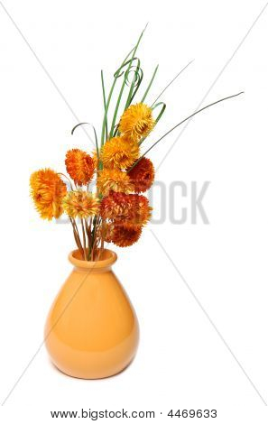 Ceramics Vase With Dried-up Flowers