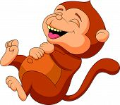 Vector illustration of Cute monkey cartoon laughing poster