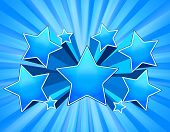 Blue Abstract Star Burst Background with beams poster