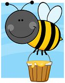 Smiling Bee Cartoon Character Flying With A Honey Bucket poster