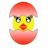 hatching amusing chicken from a red egg raster illustration poster