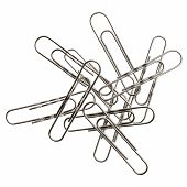 Small pile of paper clips. Silver design on white background. poster