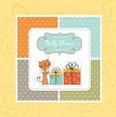 Birthday announcement card with cat, illustration in vector format poster