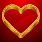 Valentine background with gold heart and jewels. poster