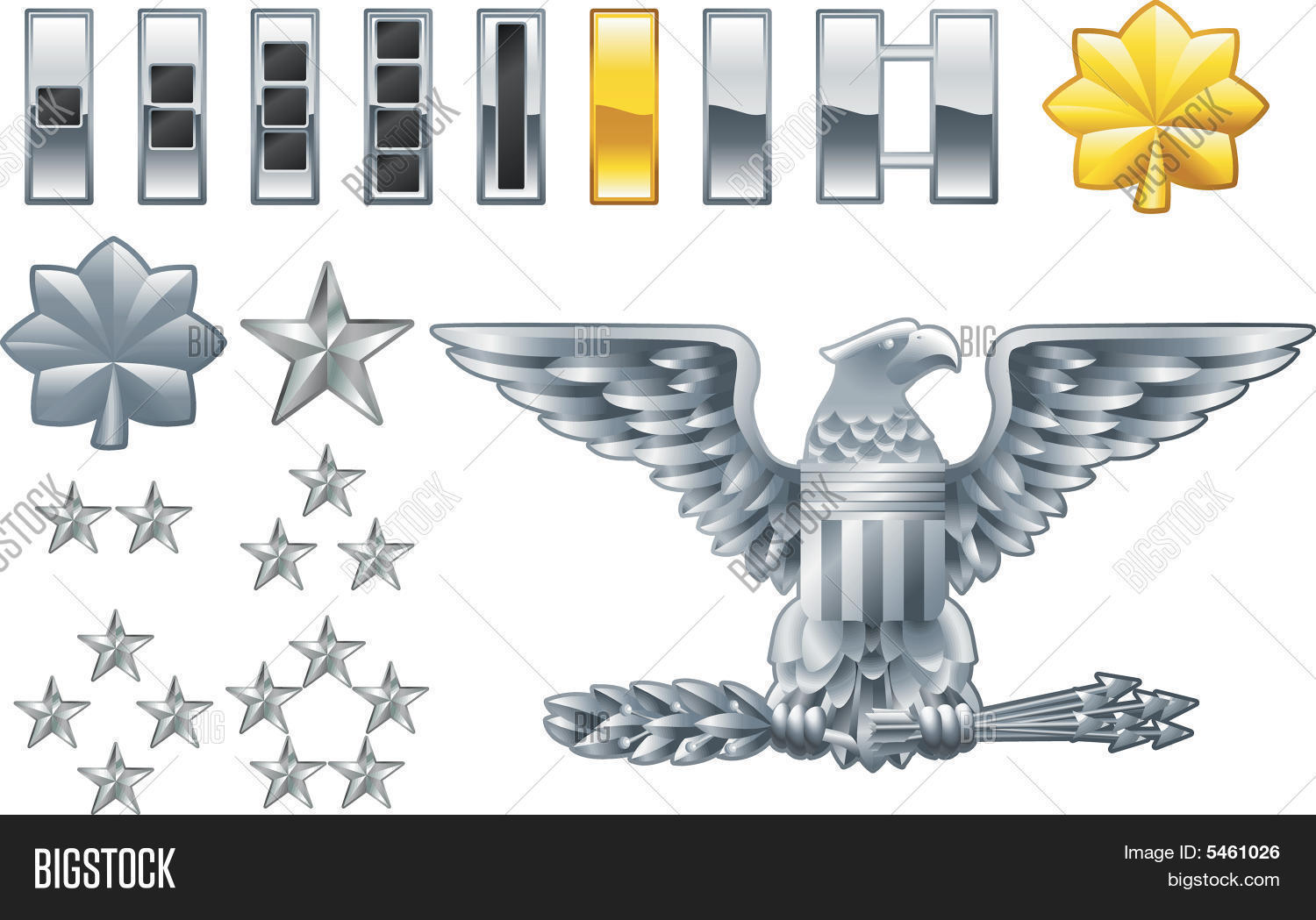 Charming American Army Officer Ranks Insignia Icons