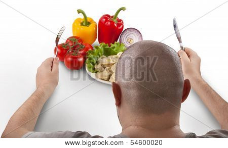 Fat man is going to eat tasty pelmeni with fork and knife. poster
