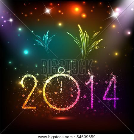 Happy New Year 2014 celebration flyer, banner, poster or invitation with colorful shiny text, clock on colorful fireworks background.